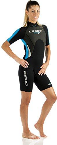 Cressi Damen  Overall Med X Shorty, Schwarz/Weiß/Blau, S, LV437502