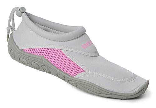 BECO Surfschuhe Badeschuhe Beachschuhe Damen Pantolette Schuhe grau/pink Gr. 39