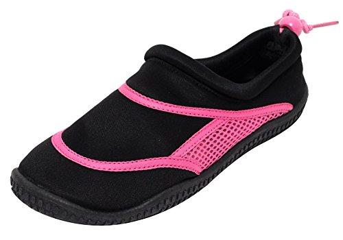 Neopren Damen Mädchen Aquaschuhe Badeschuhe schwarz pink (38/39)