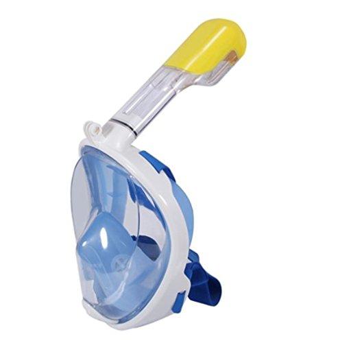 Vollgesichts Atmung Schnorchelmaske für Erwachsene und Jugendliche. Revolutionäre voll trockenen Tauchermaske mit Anti-Fog-und Anti-Leak-Technologie. Besser sehen mit 180 ° Betrachtungsfläche als herkömmliche Masken (blau, L/XL)