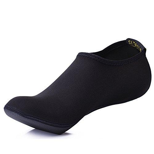 SITAILE Damen Herren Kinder Barfuß Schuhe Weich Wassersport Schuhe Aquaschuhe Surfschuhe Badeschuhe Yoga Fitness Schuhe Water Aqua Shoes,Schwarz,L,EU38-39
