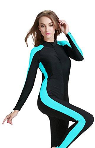 Modest Swimwear – Taucheranzug Damen Herren Mädchen UV Schutzkleidung Sunsuit Ganzkörperansicht Badeanzug Overall Watersport (Int'l – S, blau)