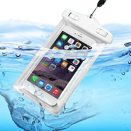 Fone-Case (White) HTC U Ultra Wasserdichte Tasche Universal Mobile Handy-Kamera Luminous-Beutel-trockener Unterwasser -Touch Responsive Abdeckung mit Sealed System Umweltfreundlich mit TPU Construction