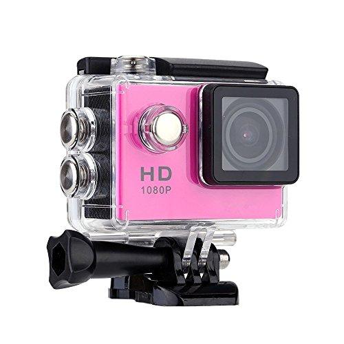 Lyhoon Full HD 2 Zoll Wasserdicht Weitwinkel-Objektiv Action Kamera Action Cam mit Zubehör Kits für Fahrrad Motorrad Tauchen Schwimmen usw (Rose, 720P)