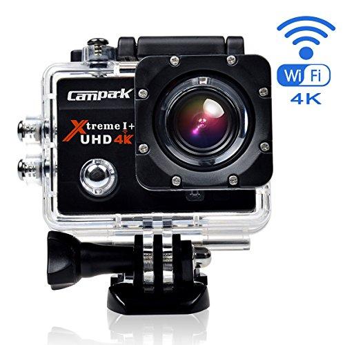 Campark ACT74 Action Cam Helmkamera Ultra HD 4K 12MP Wifi Wasserdicht Action Kamera Zeitraffer Slow-Motion mit 2 skku und Tragbares Gehäuse Zubehör Kits