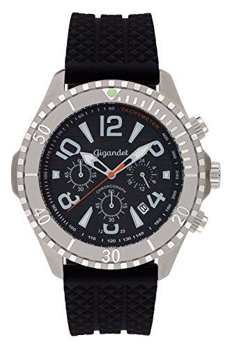 Gigandet Herren Armbanduhr Aquazone Quarz Uhr Chronograph Analog Silikonarmband Edelstahl Datum Schwarz G23-002
