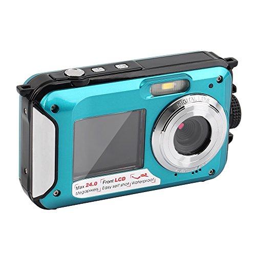 ROGUCI Unterwasser shockproof Digital 24MP Kamera u. Kamerarecorder w / Dual farbenreiche LCD-Anzeigen, 2.7inch TFT Digitalkamera-wasserdichte volle HD 1080P doppelte Schirm 16x Digital-Summen-Kamerarecorder DVR DV Videogerät