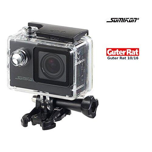 Somikon Einsteiger-4K-Action-Cam, Full HD (60 B./Sek.), mit Unterwassergehäuse