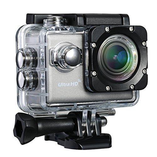4K Action Kamera, TopElek 2.0 Zoll Wifi Actioncam Helmkamera Ultra Full HD Sports Kamera 170° Weitwinkel 30M Wasserdicht mit 2 Verbesserten Batterien und kostenlose Zubehör Kits