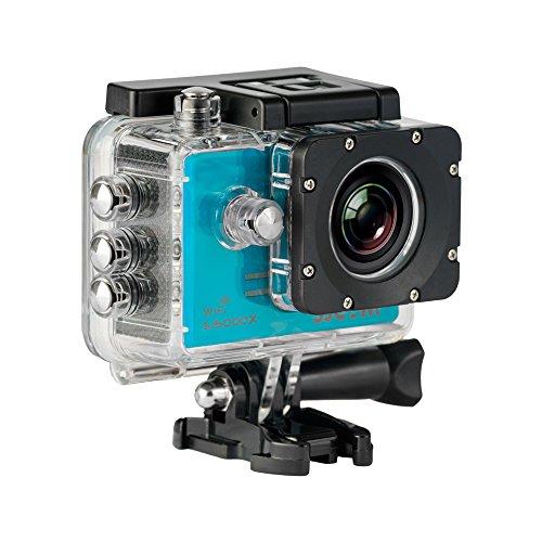 SJCAM SJ5000X-Elite Deutsche Version Wasserdichte Sport Actionkamera (5,08 cm (2 Zoll), 4K/2K, WiFi, 30m, 14MP, Gyro Anti-Shake Stabilisierung, 16 Zubehörteile) blau