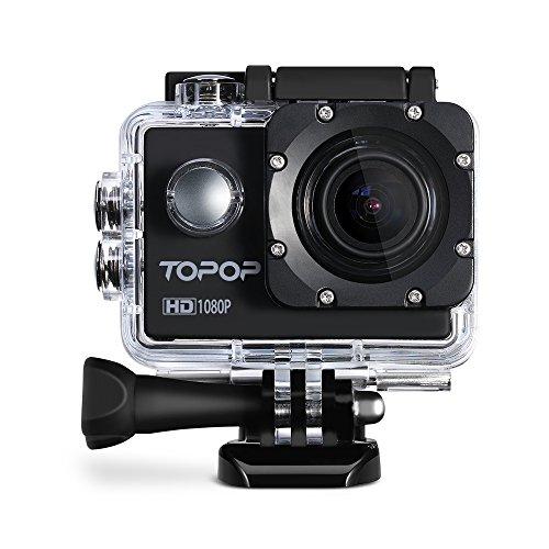 Action Kamera,Topop 2 Zoll Sport Kamera mit 12 Megapixel Bild und Full HD (1080p bei 30 Bildern pro Sekunde) Video, 30m Tiefe wasserdicht, 170 Grad Weitwinkel Fisheye Linse, mehrere Zubehörer
