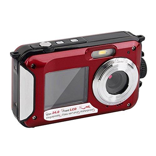 ORIGINAL eyeCam EC137 Unterwasser-Digitalkamera ( 24 Megapixel, Bildstabilisator, DUAL Bildschirm (vorne 6,8 cm = 2,7 Zoll und hinten 1,8 Zoll = 4,6cm) , 16-fach Zoom, wasserdicht bis 3 Meter) Farbe: Rot