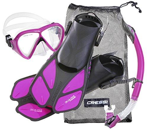 cressi Tauchset BONETE DELUXE (Tauchmaske, Schnorchel, Flossen & Netzbeutel) – Purple – Gr. S/M – 36/42