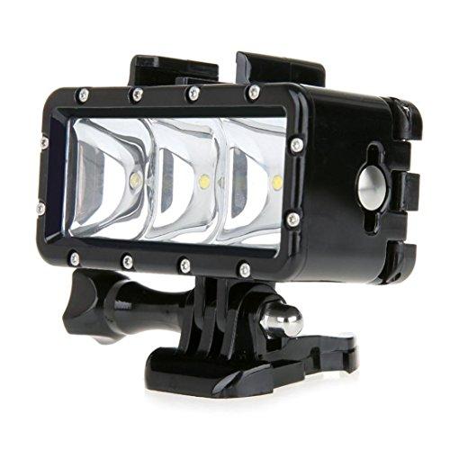 Fulltime® LED Tauchen 30 m wasserdicht Dimmbare Videoleuchte mit Mount Kit für GoPro Hero 4 3 + 3 2 1 Sport-Kameras, 5500K-6000K 300-Lumen, 3 LED, Ohne Kleinpaket
