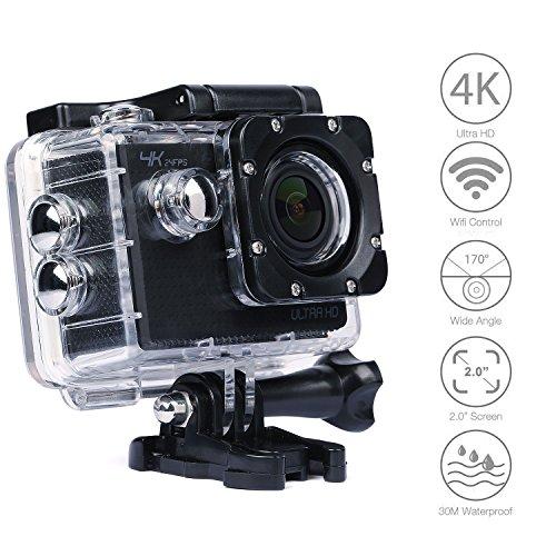 4K Action Kamera, YIPIN Ultra HD Sports Kamera Wifi 24fps 12MP 2,0 Zoll 170 ° Weitwinkel Action Cam Wasserdicht Unterwasser mit 2 Verbesserten Batterien akku und Kostenlose Zubehör Kits