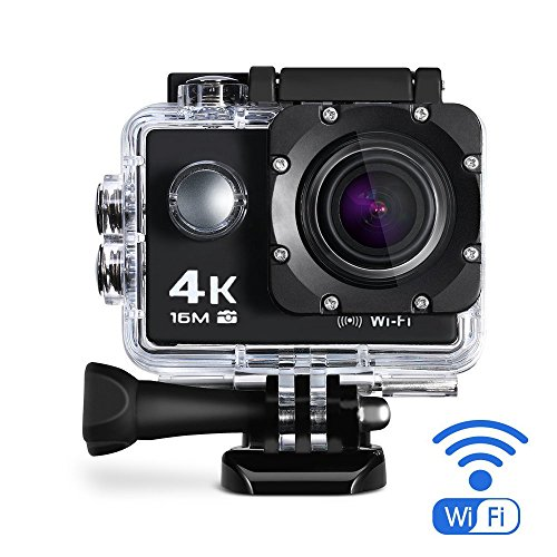 Maxesla 4K Action Kamera 16MP Full HD 170 ° Weitwinkel Wasserdichte Sports Action Cam mit WIFI 2,0 Zoll LCD Unterwasserkamera 2 Batterien Helmkamera mit Zubehör Kits für Schwimmen, Motorrad Fahren, Surfen, Tauchen, draussen usw